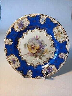 £50 • Buy 6 Beautiful Rosenthal Blue Gilt And Floral Side Plates 20cm C.1930