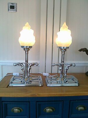 £62 • Buy A Pair 18.5  High Chrome Art Deco Style Bedside/table Lamps  Flame Glass Shades