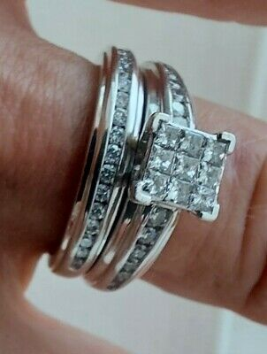 £800 • Buy 18ct White Gold Bridal Ring Set Solitaire Engagement And Wedding Band Size K
