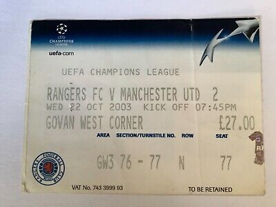 £0.99 • Buy Manchester United Match Ticket Stub V Rangers 03-04 Champions League