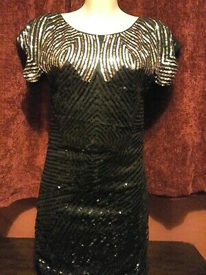 £1.49 • Buy Women's Black & Silver Sequined Mini Dress Size Small