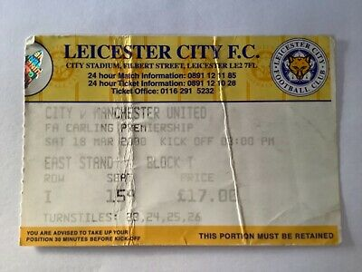 £0.99 • Buy Manchester United Match Ticket Stub V Leicester City 1999-00 Carling Premiership