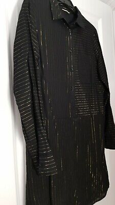 £7.99 • Buy Hush Voile Black And Gold Striped Shirt Dress, Size 6