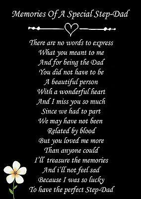 £2.99 • Buy A Special Step Dad Memorial Funeral Graveside Poem Card & Ground Stake F99