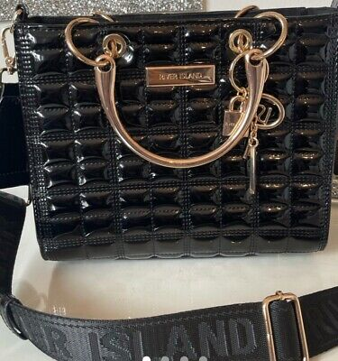 £27 • Buy River Island Black RI Boxy Quilted Tote Bag
