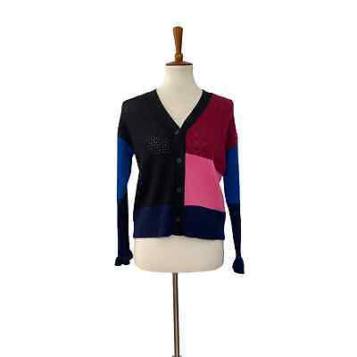 AU181.57 • Buy Kenzo Womens Colorblock Cashmere Cardigan Blue Red Pink XS