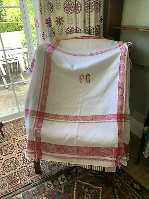 £50 • Buy Antique French Damask Tablecloth White Red Jacquard Flower Leaf Motif