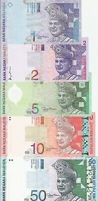 £38 • Buy MALAYSIA,SET OF 5 NOTES,1,2,5,10&50 RINGGIT,AU-UNC. 2000s