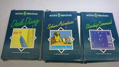 £18.99 • Buy 3 Acorn Electron Games Diary Starship Command Sphinx Adventure Introductory Tape