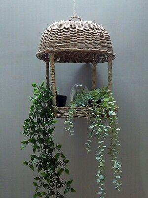 £19.99 • Buy Vintage Wicker Hanging Basket Bird Table Plant Stand