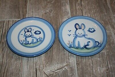 $25 • Buy 2 Vintage M.A. Hadley Pottery Small Plates Bunny