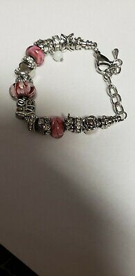 AU22.72 • Buy Pandora Charm Bracelet Silver Bangle With Roses And Pink Charms!