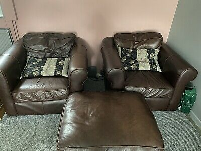 £5 • Buy Brown Leather Chairs And Foot Stool