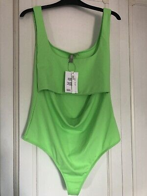 £5.99 • Buy Lovely Neon Green Sleeveless Cut Out Asos Body Suit Size 16 BNWT