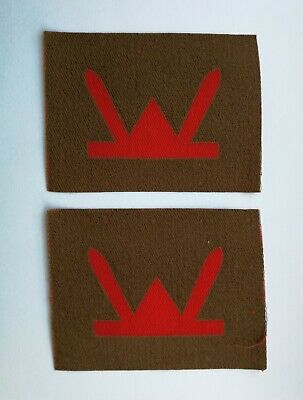 £23.99 • Buy Genuine WW2 Printed 53rd Welsh Division Formation Patches Pair, Army Badges