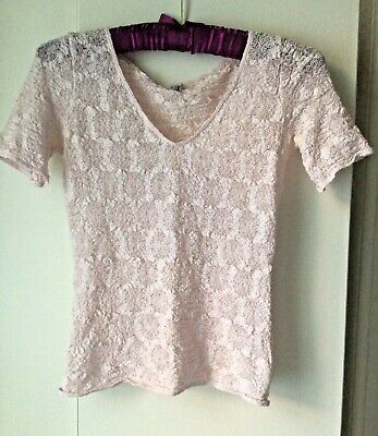 £8.99 • Buy Wolford Light Pink Lace Short Sleeve Top
