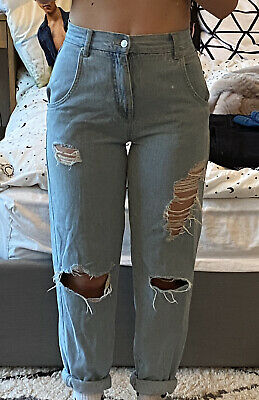 £15 • Buy Pull And Bear Ripped Light Wash Blue Mom Wide Leg Jeans Size EUR 32