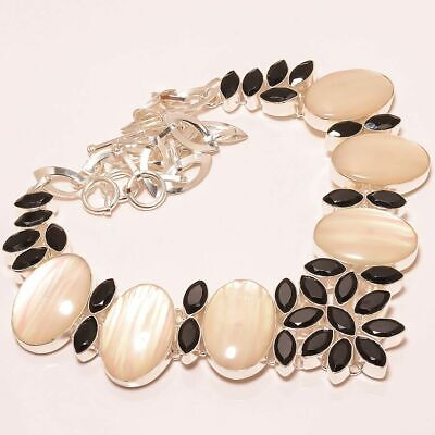 $0.01 • Buy Rainbow Mabe Pearl & Black Onyx 925 Sterling Silver Jewelry Necklace 17.99  (42)