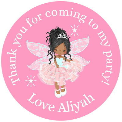 $3.39 • Buy Personalised Brown Skin Fairy Princess  Pink Gloss Party  Sweet Cone Stickers