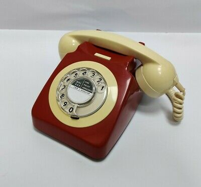 £39.99 • Buy Vintage GPO BT 746F - Two Tone Red & Ivory White Cream - Rotary Phone Converted