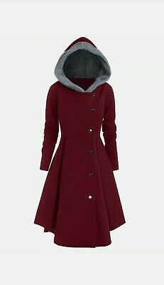 £18 • Buy Women 12 UK Vintage Single Breasted Hooded Long Coat Jacket Outwear Goth  Trench