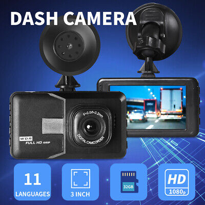 AU36.99 • Buy 1080P Car Dash Camera FHD 3 LCD Video DVR Recorder Camer 11 Languages With 32GB