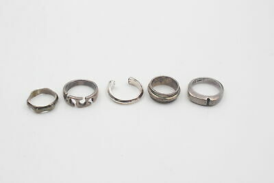 £0.99 • Buy 5 X .925 Sterling Silver RINGS Inc. Modernist, Cutwork, Bamboo, Chunky (27g)