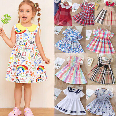 £9.28 • Buy Toddler Baby Girls Dress Check Sundress Party Casual Dresses Kids Clothes UK