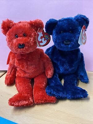 £3.50 • Buy Ty Beanie Babies Set Of Two Pops And Sizzle Red And Blue Bears Teddies