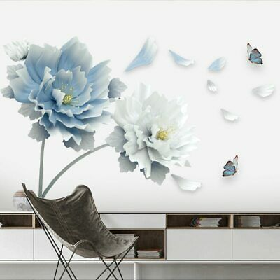 £6.99 • Buy 3D Wall Art Decals Mural White Blue Flowers Lotus Butterfly Sticker Home Decor