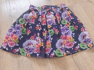 £5.99 • Buy Girls Ted Baker Skirt, Age 10, Floral Pattern On Blue Chiffon, Good Condition