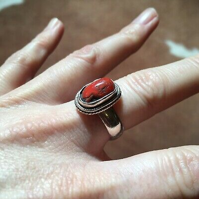 £22 • Buy Real Sterling Silver Native American Ring W/Coral Stone