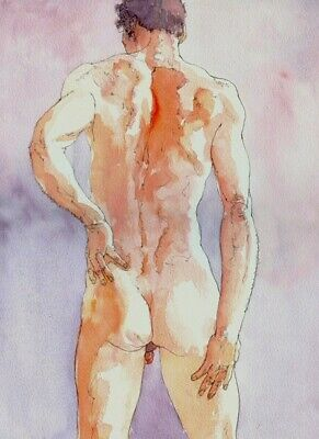 £15 • Buy Nude Muscular Naked Male Print Of Watercolour Painting By Artist Peter Kavanagh