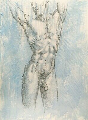 £15 • Buy Nude Muscular Naked Male Print Of A Pencil Drawing By Artist Peter Kavanagh