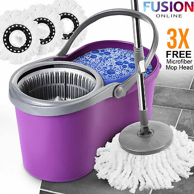 £6.95 • Buy 360° Spin Mop Bucket Plastic Wringer Set 3 Microfibre Mop Head Spinning Cleaning