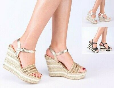 £9.99 • Buy Ladies Womens Mid Wedge Summer Peep Toe Ankle Strap Sandals Shoes Pumps Size