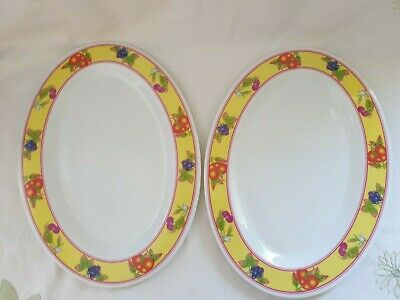 £2.99 • Buy 2 X Large Serving Plates Oval 14x10 Inch Fruit Pattern