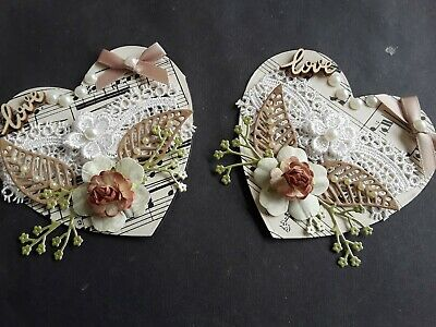 £2.49 • Buy Two Handmade Vintage Style Card Toppers, Flowers, Sentiment, Bow, Any Occasion.