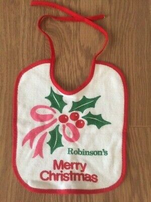 £5 • Buy Vintage 1980's Robinson Baby Food Merry Christmas Baby Bib Holly Red Green NEW