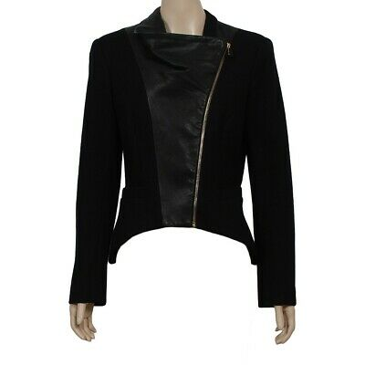 AU125 • Buy Sass And Bide THE NEW SPIN Leather & Wool Jacket Zips FREE POST 42 12