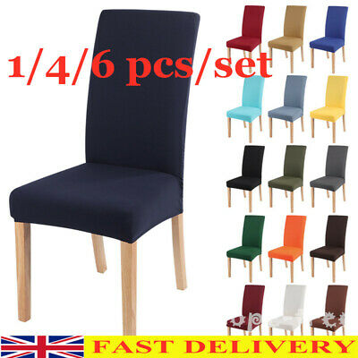 £3.88 • Buy 1/4/6x Dining Chair Seat Covers Stretch Wedding Banquet Party Removable Lot UK