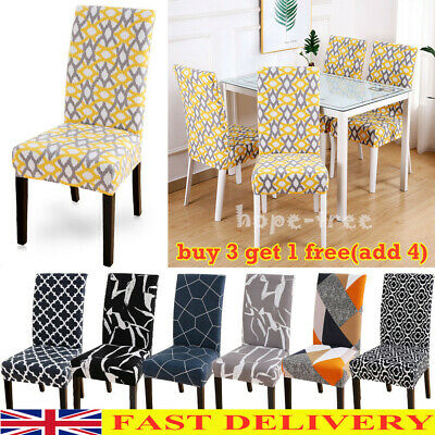 £4.95 • Buy Home Geometric Stretch Dining Chair Covers Seat Slipcovers Party Home Decor