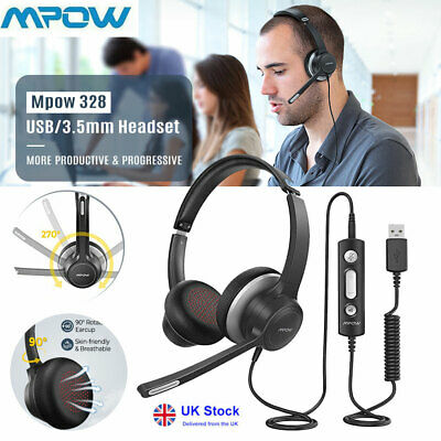 £20.79 • Buy Mpow Headset Headphone Earphone In-line Control Noise Cancelling For SKYPE CALLS