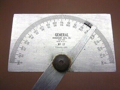 $9.99 • Buy General Tools No. 17 Square Head S.S. Angle Protractor 0-180 Degrees Machinists