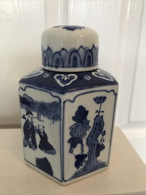 £3.30 • Buy Vintage Chinese Hexagonal Lidded Tea Caddy Blue And White