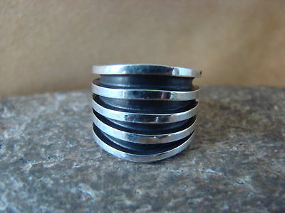 £64.88 • Buy Navajo Indian Jewelry Sterling Silver Ribbed Ring Size 4 1/2 - Tom Hawk