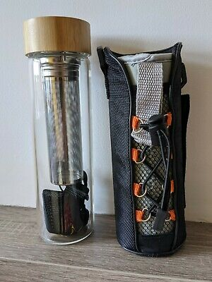 £3 • Buy BRAND NEW - Glass Water Bottle With Infuser Flask ColdBrew Bamboo Top