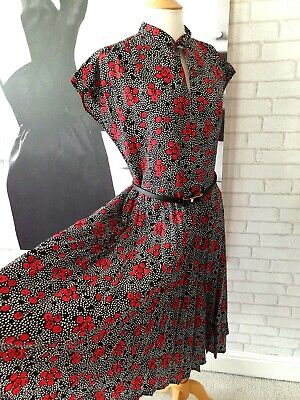 £7.95 • Buy Vintage Ladies 1980's C&A Pleated Skirt Dress Cherry Pussy Bow Size XL (EBV43)