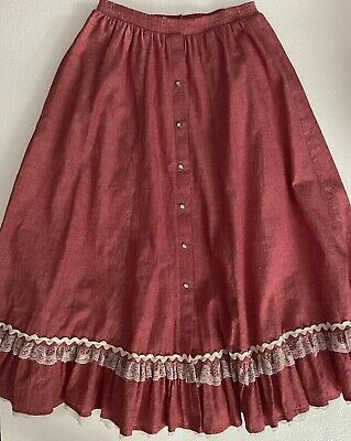 $27.99 • Buy Vintage Chambray Red Square Dance Skirt Lace Trim - Rockmount Ranch Wear  Large