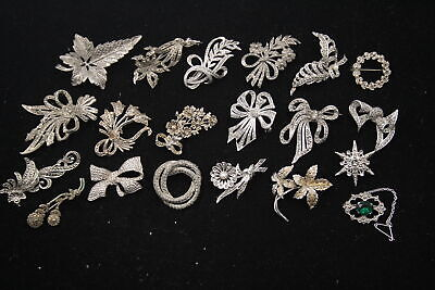 £0.99 • Buy 20 X Vintage MARCASITE Brooches Inc. Sphinx, Floral, Bow